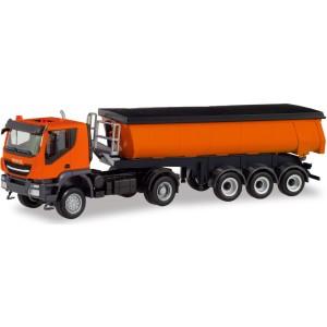 Macheta camion Iveco Tracker 4x4 cu semiremorca basculanta