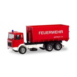 """Macheta camion MAN F8 cu rola brat cinematic si container """"Pompieri"""""""