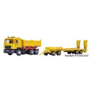 Kit de construit camion MAN basculanta cu remorca transport uilaje KIRCHHOFF