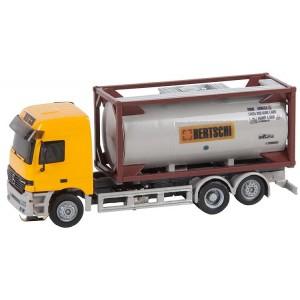 "Macheta camion Mercedes-Benz Actros L'96 cu container ""Bertschi"" - Faller Car System (Herpa)"