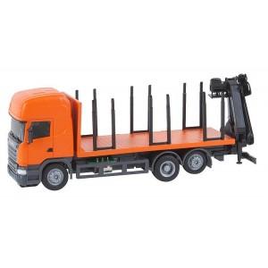 Macheta camion Scania R13 transport lemne cu macara - Faller Car System (Herpa)