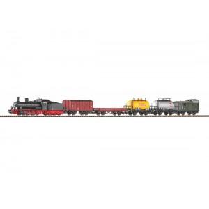 """Start set trenulet electric """"Tren de marfa"""",cu locomotivă cu abur G7 si 5 vagoane de marfa ,DB, Epoca III"""