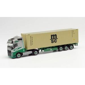 "Macheta camion VOLVO FH GL. LNG cu semiremorca container ""EKB / MSC"""