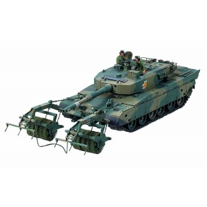 Kit de construit tanc JGSDF MBT T90 cu role anti-mine si 2 figurine 1:35