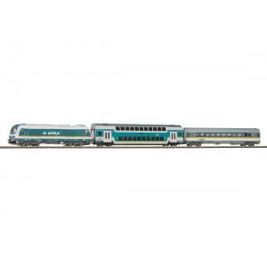 """Start set trenulet electric """"Tren de calatori"""",cu locomotivă diesel Hercules si 2 vagoane de calatori ,ALEX, Epoca VI"""