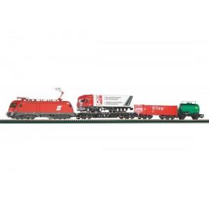 """Start set trenulet electric """"Tren de marfa"""",cu locomotivă electrică Taurus si 3 vagoane de marfa ,OBB, Epoca VI"""