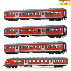 Set vagoane de calatori DB AG Regio, Epoca VI,lumina interioara LED, 4 buc + bonus vagon marfa G10 DB, Epoca III