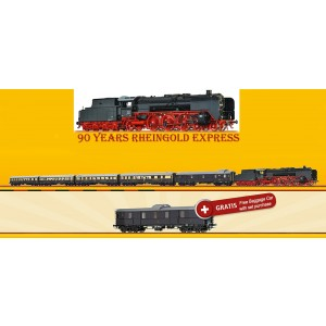 "Set aniversar 90 de ani garnitura tren "" Rheingold "", DRG, Epoca II,analogic + bonus vagon bagaje si breloc"