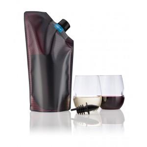 Set portabil de vin (1 sticla pliabila Vapur Vandervino 0.75L si 2 pahare Govino)