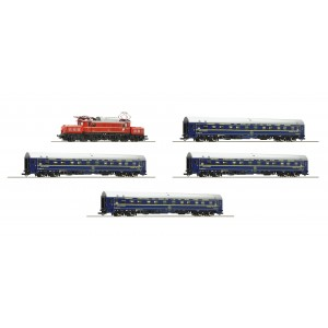 "Garnitura tren cu locomotiva electrica seria 1020 OBB,cu sunet, 4 vagoane ""Orient Express"" de calatori, Epoca IV"