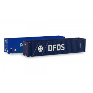 """Set 2 containere """"P&O Ferrymaster / DFDS"""""""" 45ft. pentru remorcile Herpa"""